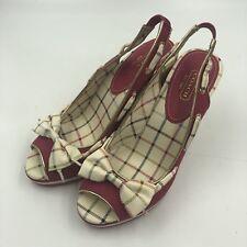 Coach Wedge Sandals Twirling Cork Open Toe Size 8B Darker Pink