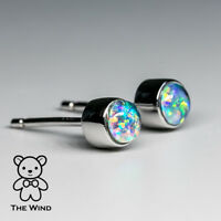 Small Round Natural Australian Opal Stud Stacking Earrings 925 Sterling Silver