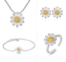 MUYE 925 Sterling Silver Daisy flower Necklace Earrings Bracelet Ring Set Women
