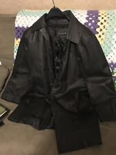 SEVENTH AVENUE LEATHER COAT BLACK SIZE LG SLIGHTLY USED CONDITION