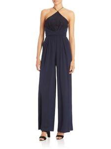 Zimmermann Halter Lace Silk Navy Wide-Leg Jumpsuit Size 1