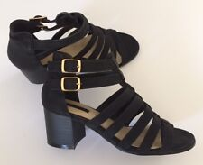 FOREVER21 Women's Black Ankle Strap Block Heel Strappy Sandals Shoes Size 6.5