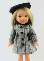 """Black And Silver Coat And Hat Fits 14.5"""" Wellie Wisher American Girl Clothes"""