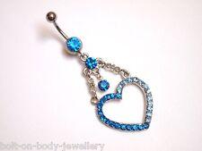 Large Heart Gem Belly Bar ~ 10mm ~ Blue Crystals