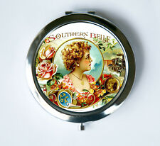 Southern Belle Compact Mirror Pocket Mirror flowers train victorian