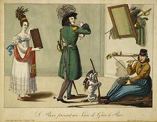 Paul André Basset 1815 print Le Russe prenant une leçon de grace à Paris Russian