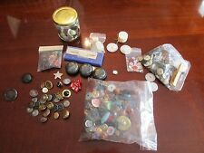 Button Lot Various Metal Mother of Pearl Vintage