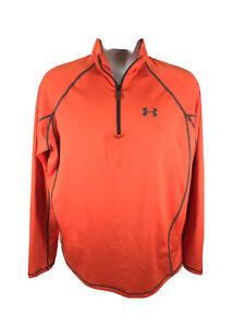 Under Armour Men's Orange Evo CG ColdGear 1/4 Zip Pullover Shirt Sz L