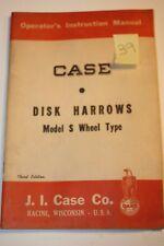 VINTAGE CASE OPERATORS INSTRUCTION MANUAL~DISK HARROWS Model S WHEEL TYPE-10/54