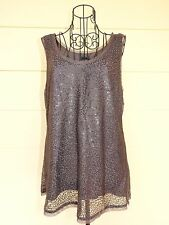 """Jeanswest"" Sequined Mesh Tank Top, Size Large, Brown"
