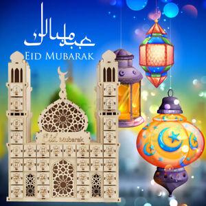 Wooden Eid Mubarak Ramadan Advent Calendar DIY Countdown Drawer Lighting Muslim