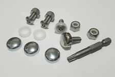 4 License Plate Tag Frame IMPORT Metric Fasteners Screws Bolts Chrome Caps cover