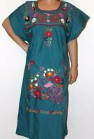 Teal Boho Vintage Style Hand Embroidered Tunic Mexican Dress Hippie Puebla