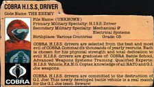 G I JOE FILE CARD - COBRA H.I.S.S. DRIVER + COBRA STINGER DRIVER + SEAL 1983-84
