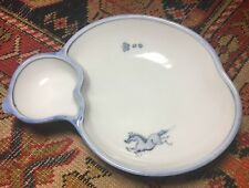 Lovely white dish divided; no markings; blue cord design underneath; blue horse