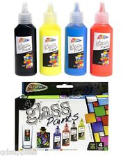 SET 4 GLASS ART PAINTS FAST DRY COLOURS RED BLUE YELLOW BLACK GRAFIX R06-0056