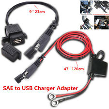 Motorcycle 2.1A Waterproof USB Charger Kit SAE to USB Adapter+Extension Harness