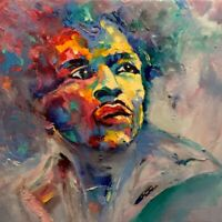 Jimi Hendrix abstract portrait signed original oil painting on canvas
