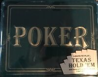 New Professional Poker Texas Hold Em Game Jax Tin Book Chips Tray Cards Dealer