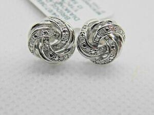 Diamond Love Knot Stud Earrings (1/10 ct. tcw.) in Sterling Silver $200.00