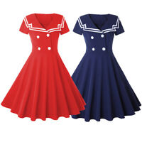 Vintage Style Sailor Nautical Dress 50s Rockabilly Pinup Retro Party Tea Dress