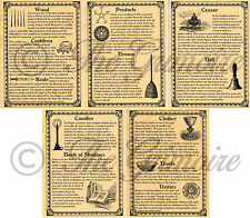Set 5 Book of Shadows Pages Wiccan Ritual Tools and Supplies, Witchcraft, Wicca