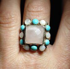 "Turquoise, Mop Halo Ring Sz 6 Sterling Asian 3/4"" High Rectangular Pink Quartz,"