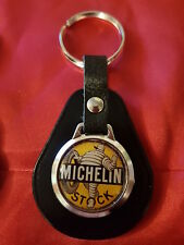 MICHELIN MAN STOCK VINTAGE STYLE TYRES SIGN  TOP QUALITY LEATHER & METAL KEYRING
