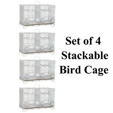 Set of 4 Breeding Bird Cage Stackable Finch Budgie Canary Removable Divider 60cm