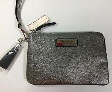 "Victoria'S Secret Shiny Silver Cosmetic Bag/Wristlet Zipper Closure 8""x5"" E774"