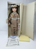 """Kingstate Porcelain Collector's Girl Doll Brave 15"""" Native American Indian COA"""