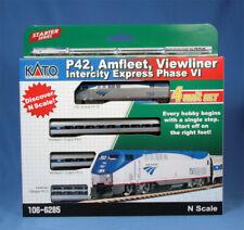 KATO 106-6285 N AMTRAK SET ,P42 LOCO + 3 VIEWLINER CARS (DC).    DCC OPTION