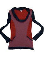 Lulumari Womens Knit Lace Sweater Size Medium Anthropology Red Gray
