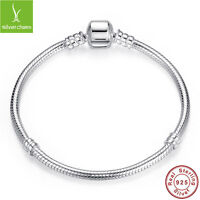 Authentic 925 Sterling Silver Safety Chain Bracelets Fit Original Charm Beads