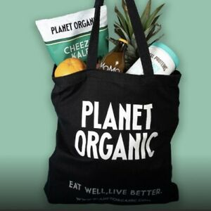 PLANET ORGANIC - LONDON Large Shopping Tote Bag 100% Cotton Reusable Black NEW
