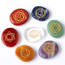 7Pcs/Set Engraved Reiki Chakra Energy Healing Crystal Meditation Palm Stones US