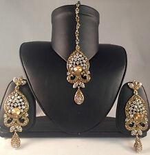 Bollywood Fashion,Golden Indian Jewellery, Earrings & Tikka Set,DH17-501