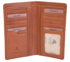 **SALE**£10 OFF**Visconti Luxury Tan Leather Long Jacket Wallet Non RFID VCN20