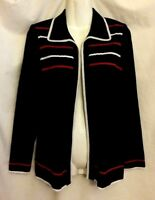 WOMEN'S EXCLUSIVELY MISOOK NAVY BLUE LONG SLEEVE OPEN FRONT CARDIGAN JACKET XS
