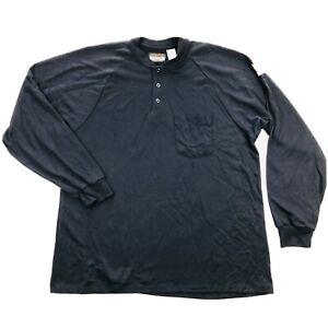 Bulwark FR Mens Large Regular Navy Blue Henley Long Sleeve Work Shirt