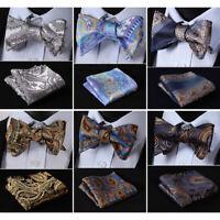 HISDERN Paisley Floral Bowtie Wedding Men's Self Bowties Handkerchief Set#RF1