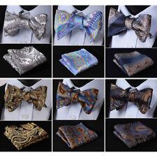 HISDERN Men Woven Bowtie Silk Paisley Self Bow Tie Wedding Handkerchief Set#RF1