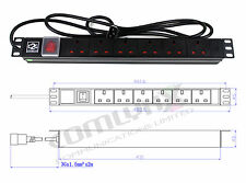 "19"" 6 Way UK Power Distribution Unit + IEC C14 UPS PLUG Mains Extension PDU Rack"