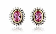 Sterling Silver Gold Plated Pink Sapphire And Cubic Zirconia Stud Earrings