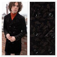 Mens Black Mod Retro Paisley Double Breasted Pea Coat by Phix  XS S M L XL XXL