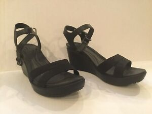 Crocs Leigh II Ankle Strap Wedge Black Standard Fit 202511 Size 11 W