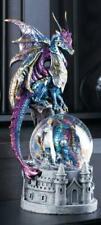 Dragon on Castle and Glittery Snow Globe Statue Figurine - Myth Legend Decor