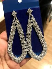 Large crystal Tear Drop Earrings Long Dangle Bridal Prom  Great Gatsby 1920s