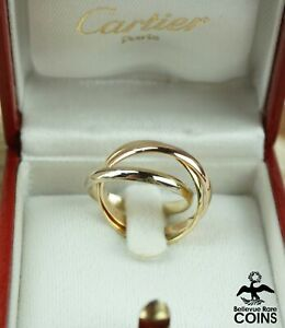 Cartier 18k Yellow, Rose, & White Gold TRINITY Ring w/ Box & Certificate