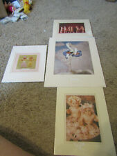 Anne Geddes Lot of 4 Prints 5x7Matted Frame tub.dancing stork New